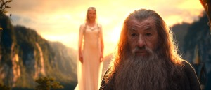 Galadriel, blurred and overshadowed by Gandalf.