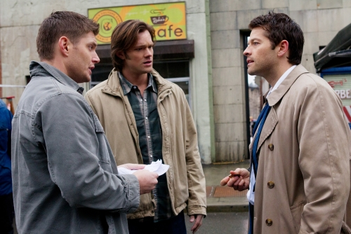 """The French Mistake"" -  Jensen Ackles as Dean playing Jensen Ackles, Jared Padalecki as Sam playing Jared Padalecki and Misha Collins as Castiel playing Misha Collins playing Castiel in SUPERNATURAL on The CW set."