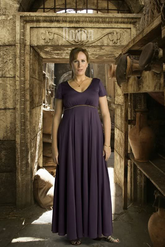 "Donna Noble in 'The Fires of Pompeii""."
