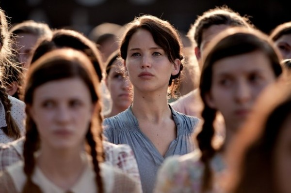 Katniss at the Reaping in District 12.