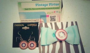 Earrings ($9) and vintage hair bow ($7)