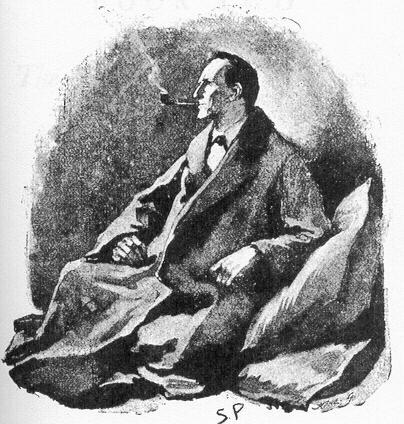 "Original illustrations by Sidney Paget for Doyle's ""Final Problem"""