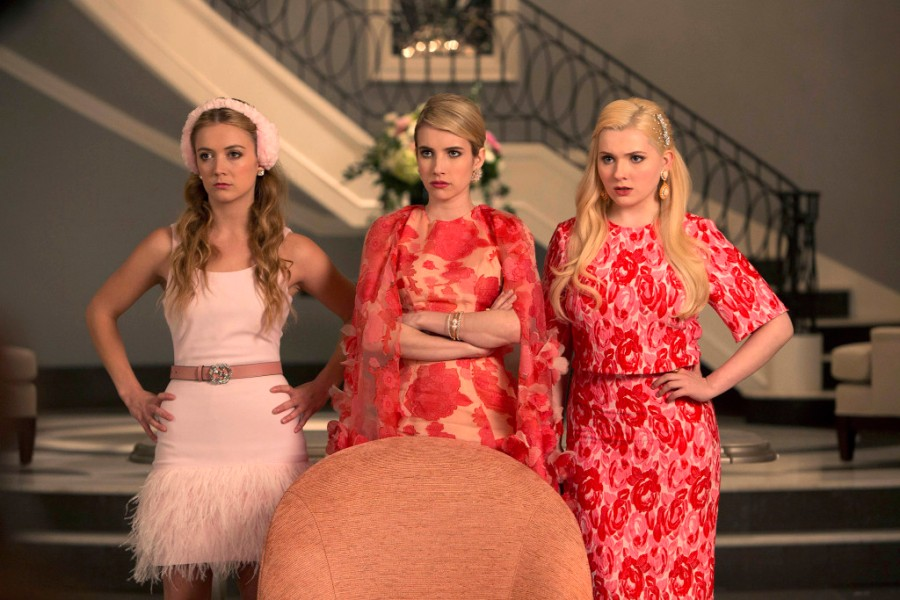 SCREAM QUEENS: Pictured L-R: Billie Lourd as Chanel #3, Emma Roberts as Chanel Oberlin and Abigail Breslin as Chanel #5 in