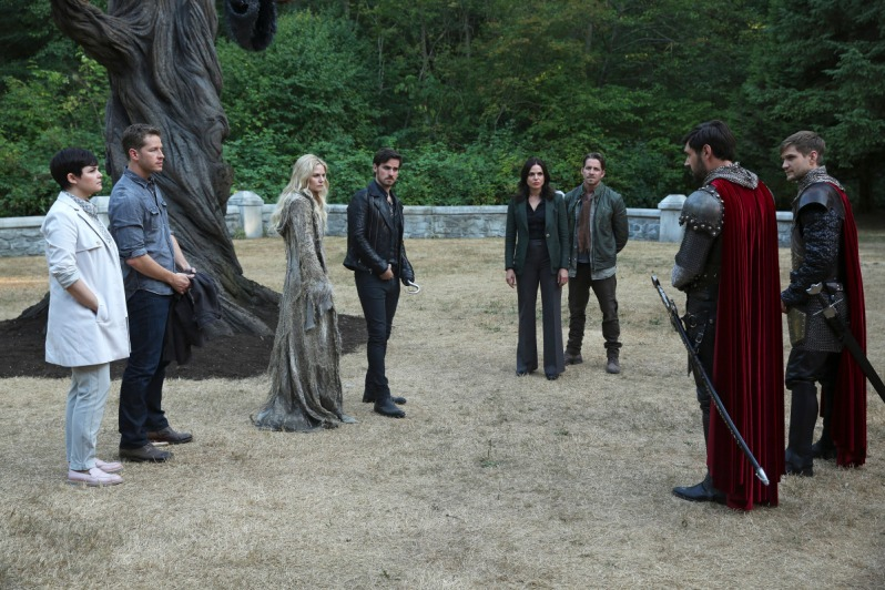 "ONCE UPON A TIME - ""The Price"" - In an effort to protect Emma, Regina steps up in a surprising way that will test her mettle as a force for good. King Arthur and Queen Guinevere throw a royal ball to welcome the heroes to Camelot, but when the celebration takes a deadly turn, David and Robin must leap into action or lose a crucial asset in the fight to save Emma. Back in Storybrooke, Hook deploys a tried-and-true technique in hopes of bringing Emma back to the light while the heroes discover that some unexpected baggage has followed them home from Camelot, on ""Once Upon a Time,"" SUNDAY, OCTOBER 4 (8:00-9:00 p.m., ET) on the ABC Television Network. (ABC/Jack Rowand) GINNIFER GOODWIN, JOSH DALLAS, JENNIFER MORRISON, COLIN O'DONOGHUE, LANA PARRILLA, SEAN MAGUIRE, LIAM GARRIGAN, ANDREW JENKINS"