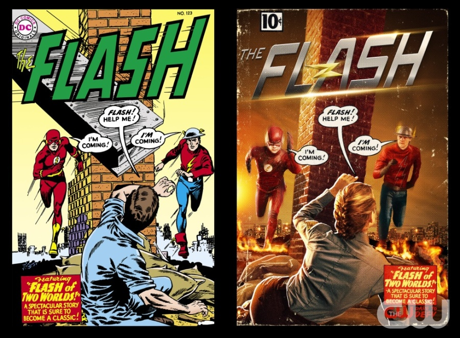 """The Flash """"Flash of Two Worlds"""" -- Image FLA202_FIRSTLOOK -- Pictured: Original DC Comic """"Flash of Two Worlds"""" and at right (L-R): Grant Gustin as The Flash and Teddy Sears as Jay Garrick-- Credit: DC Comics and Cate Cameron/The CW -- © 2015 The CW Network, LLC. All Rights Reserved."""