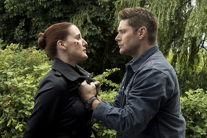 "Supernatural -- ""Keep Calm and Carry On"" -- SN1201a_0098.jpg -- Pictured (L-R): Bronagh Waugh as Ms. Watt and Jensen Ackles as Dean -- Photo: Katie Yu/The CW -- © 2016 The CW Network, LLC. All Rights Reserved"