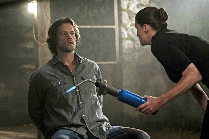 "Supernatural -- ""Keep Calm and Carry On"" -- SN1201b_0218.jpg -- Pictured (L-R): Jared Padalecki as Sam and Bronagh Waugh as Ms. Watt -- Photo: Katie Yu/The CW -- © 2016 The CW Network, LLC. All Rights Reserved"