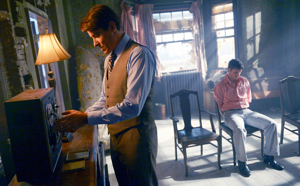"TIMELESS -- ""The Watergate Tape"" Episode 105 -- Pictured: (l-r) Goran Visnjic as Garcia Flynn, Matt Lanter as Wyatt Logan -- (Photo by: Sergei Bachlakov/NBC)"