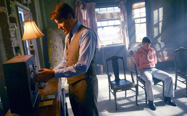 """TIMELESS -- """"The Watergate Tape"""" Episode 105 -- Pictured: (l-r) Goran Visnjic as Garcia Flynn, Matt Lanter as Wyatt Logan -- (Photo by: Sergei Bachlakov/NBC)"""