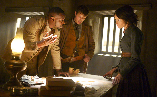 "TIMELESS -- ""The Alamo"" Episode 104 -- Pictured: (l-r) Malcolm Barrett as Rufus Carlin, Matt Lanter as Wyatt Logan, Abigail Spencer as Lucy Preston -- (Photo by: Sergei Bachlakov/NBC)"