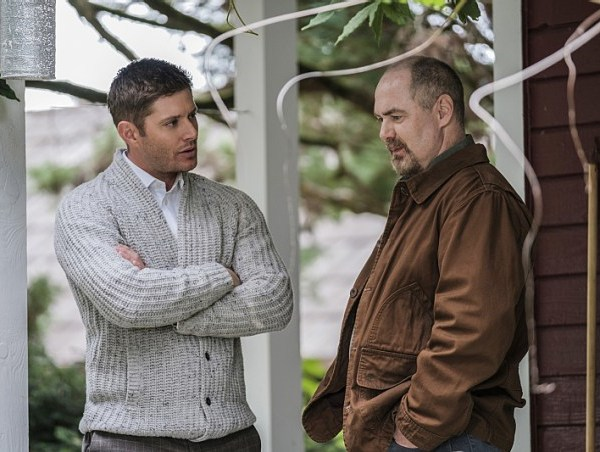 """Supernatural -- """"American Nightmare"""" -- SN1204a_0054.jpg -- Pictured (L-R): Jensen Ackles as Dean and William MacDonald as Abraham Peterson -- Photo: Robert Falconer/The CW -- © 2016 The CW Network, LLC. All Rights Reserved"""
