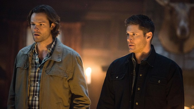"""Supernatural -- """"Celebrating the Life of Asa Wilder"""" -- SN1206a_0085.jpg -- Pictured (L-R): Jared Padalecki as Sam and Jensen Ackles as Dean-- Photo: Diyah Pera/The CW -- © 2016 The CW Network, LLC. All Rights Reserved"""