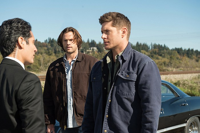 "Supernatural -- ""LOTUS""-- SN1208b_0093.jpg -- SN1208b_0093.jpg -- Pictured (L-R): Stephen Lobo as Rick Sanchez, Jared Padalecki as Sam and Jensen Ackles as Dean -- Photo: Diyah Pera/The CW -- © 2016 The CW Network, LLC. All Rights Reserved"