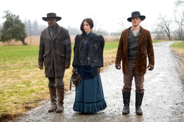 "TIMELESS -- ""The Assassination of Jesse James"" Episode 111 -- Pictured: (l-r) Malcolm Barrett as Rufus Carlin, Abigail Spencer as Lucy Preston, Matt Lanter as Wyatt Logan -- (Photo by: Sergei Bachlakov/NBC)"