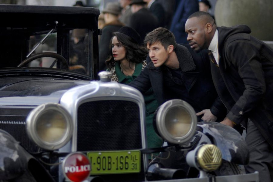 "TIMELESS -- ""Public Enemy No. 1"" Episode 114 -- Pictured: (l-r) Abigail Spencer as Lucy Preston, Matt Lanter as Wyatt Logan, Malcolm Barrett as Rufus Carlin -- (Photo by: Sergei Bachlakov/NBC)"