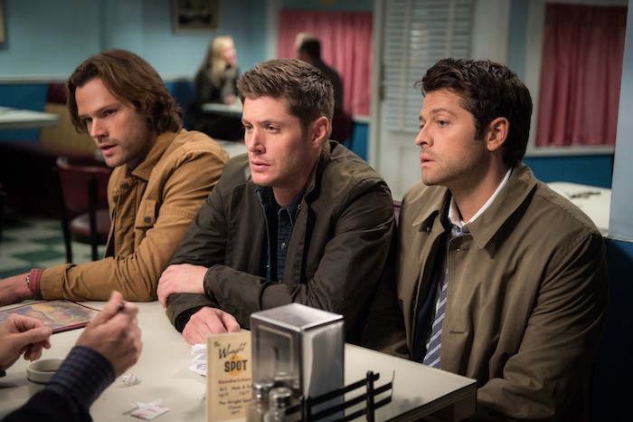"Supernatural --""Lily Sunder Has Some Regrets""-- SN1210a_0236.jpg -- Pictured: Jared Padalecki as Sam, Jensen Ackles as Dean and Misha Collins as Castiel -- Photo: Diyah Pera/The CW -- © 2017 The CW Network, LLC. All Rights Reserved"