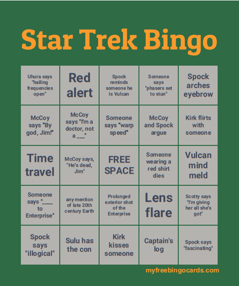 Nothing But Tropes I Thought It Might Be Fun To Make Star Trek Bingo Cards That Anyone Watching Along With Us Could Play Behold A Sample Card